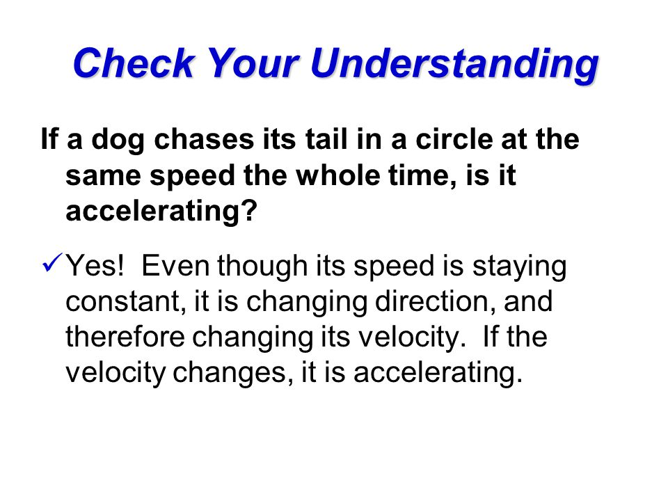 Check Your Understanding If a dog chases its tail in a circle at the same speed the whole time, is it accelerating? Yes! Even though its speed is stay