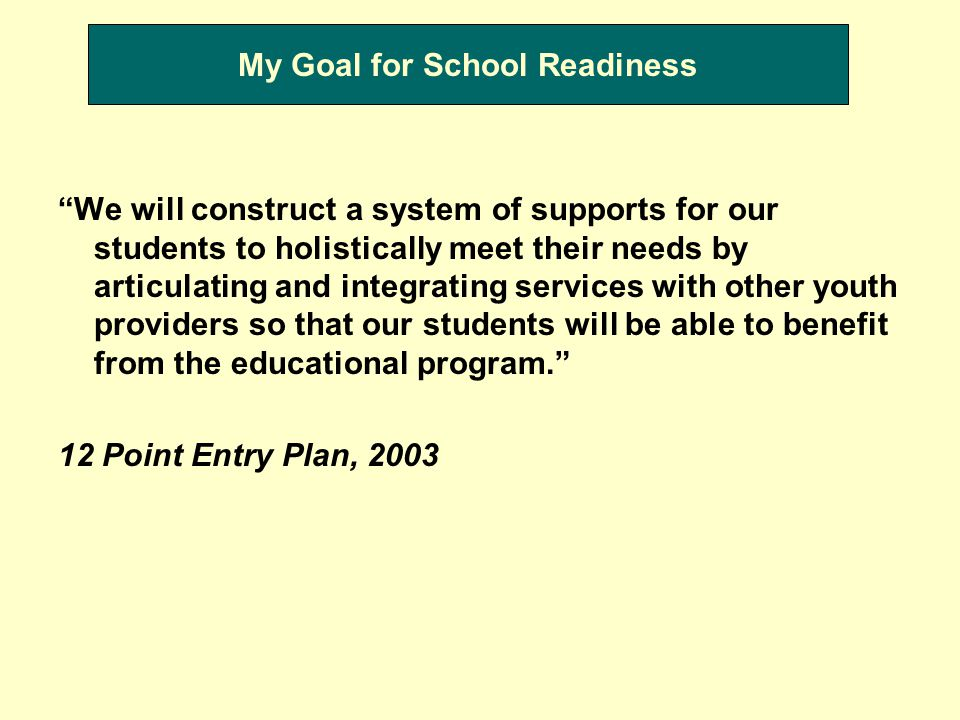 My Goal for School Readiness We will construct a system of supports for our students to holistically meet their needs by articulating and integrating services with other youth providers so that our students will be able to benefit from the educational program. 12 Point Entry Plan, 2003