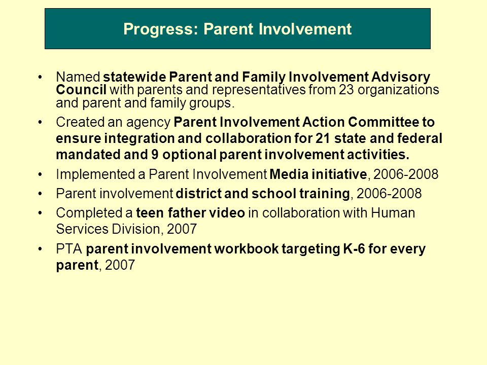 Progress: Parent Involvement Named statewide Parent and Family Involvement Advisory Council with parents and representatives from 23 organizations and parent and family groups.