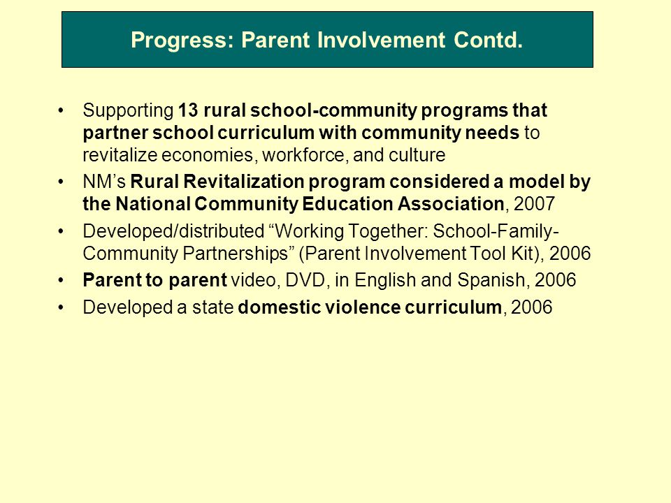 Progress: Parent Involvement Contd.