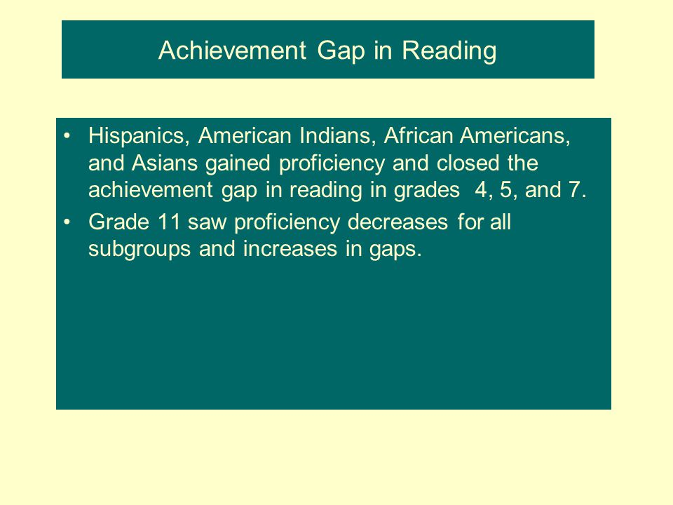 Achievement Gap in Reading Hispanics, American Indians, African Americans, and Asians gained proficiency and closed the achievement gap in reading in grades 4, 5, and 7.
