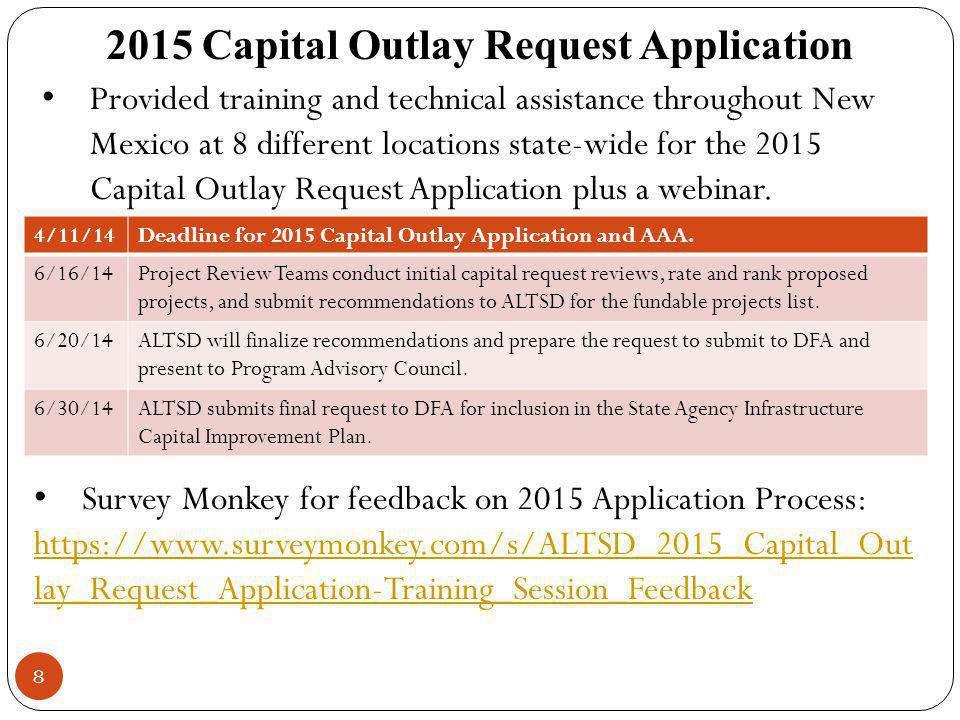 8 2015 Capital Outlay Request Application 4/11/14Deadline for 2015 Capital Outlay Application and AAA. 6/16/14Project Review Teams conduct initial cap