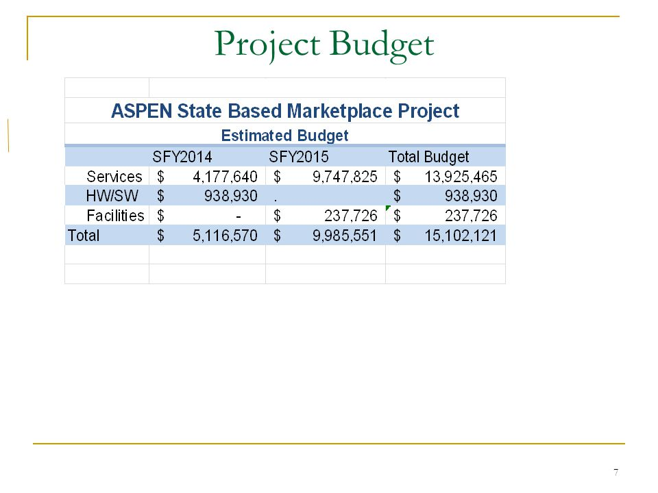 7 Project Budget