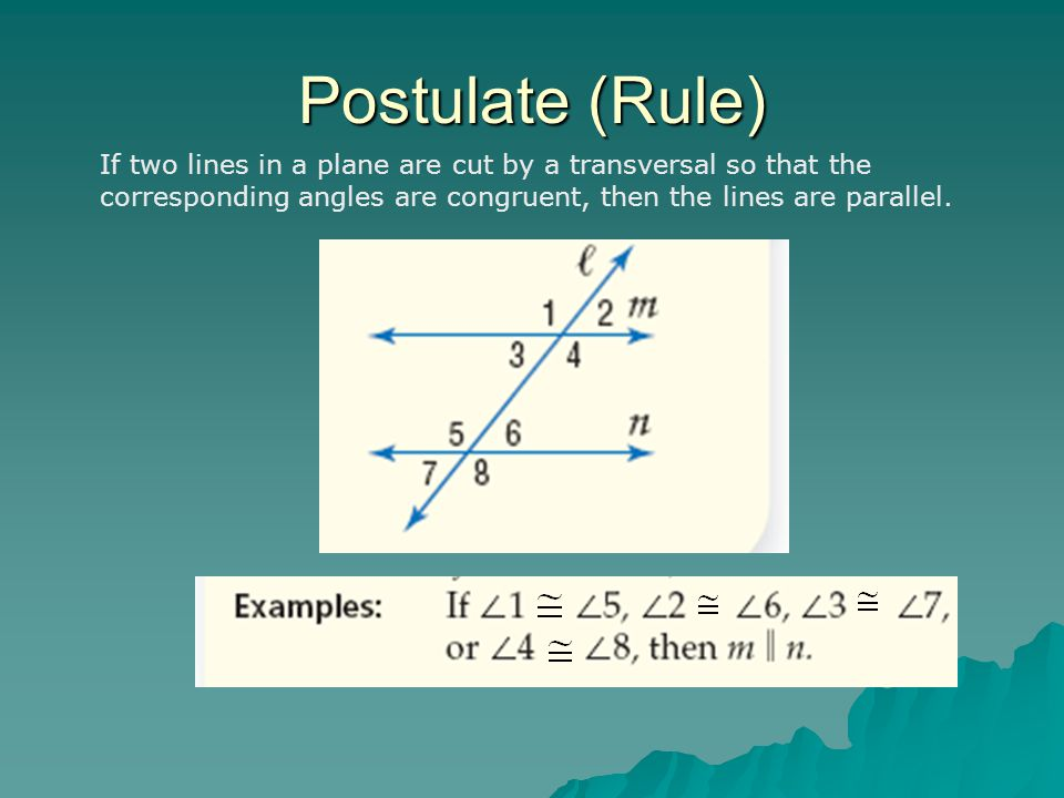 Postulate (Rule) If two lines in a plane are cut by a transversal so that the corresponding angles are congruent, then the lines are parallel.