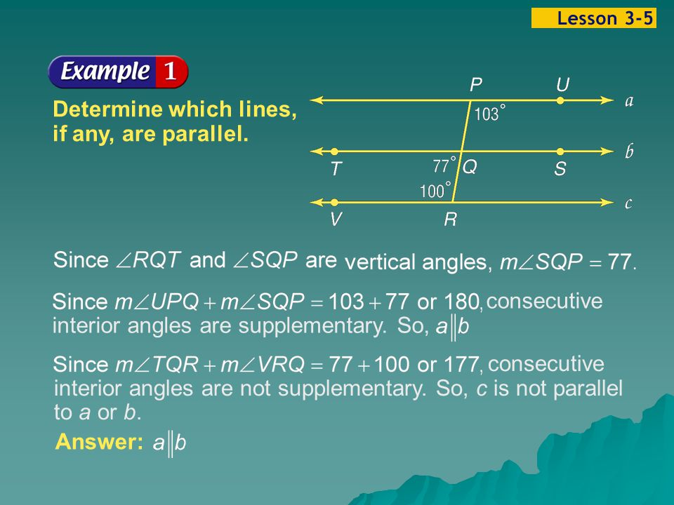 Example 5-1a Determine which lines, if any, are parallel.