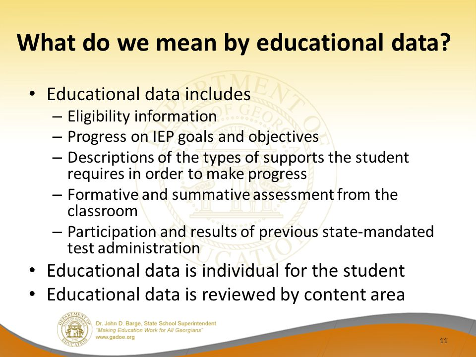 What do we mean by educational data.