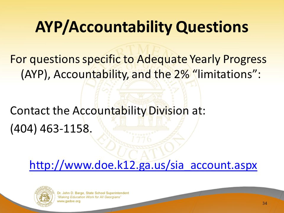 AYP/Accountability Questions For questions specific to Adequate Yearly Progress (AYP), Accountability, and the 2% limitations : Contact the Accountability Division at: (404)