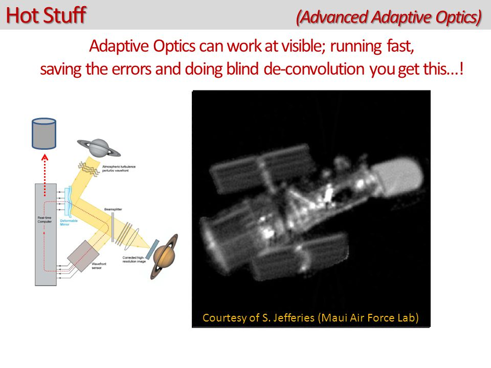 Hot Stuff (Advanced Adaptive Optics) Adaptive Optics can work at visible; running fast, saving the errors and doing blind de-convolution you get this…