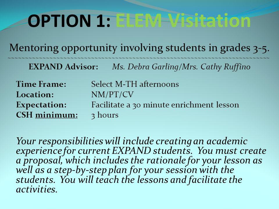 OPTION 2: MS6 Visitation Mentoring opportunity involving grade 6 students ~~~~~~~~~~~~~~~~~~~~~~~~~~~~~~~~~~~~~~~~~~~~~~~~~~~~~~~~~~~~~~~~~~~~~~~~~~~~ EXPAND Advisor:Mrs.