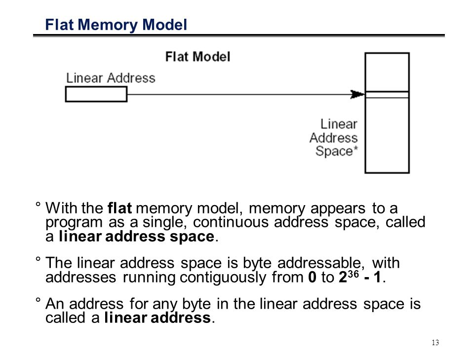 13 Flat Memory Model °With the flat memory model, memory appears to a program as a single, continuous address space, called a linear address space. °T