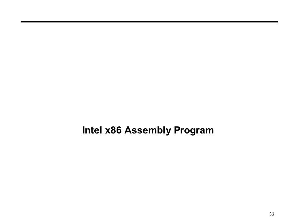 33 Intel x86 Assembly Program