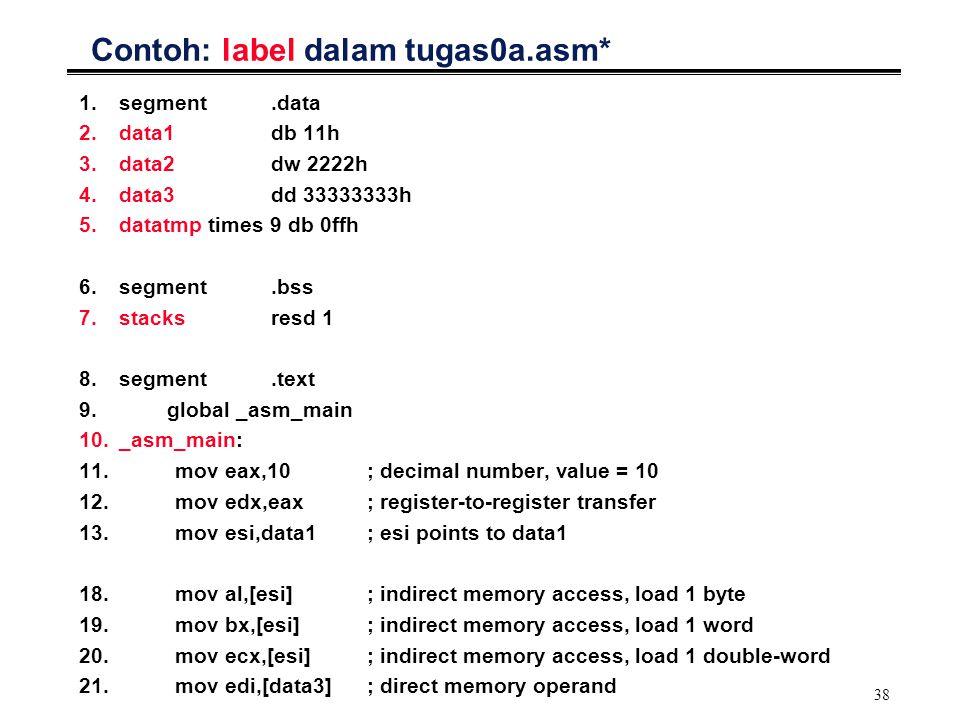 38 Contoh: label dalam tugas0a.asm* 1.segment.data 2.data1db 11h 3.data2dw 2222h 4.data3dd 33333333h 5.datatmp times 9 db 0ffh 6.segment.bss 7.stacksr