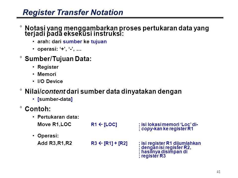 41 Register Transfer Notation °Notasi yang menggambarkan proses pertukaran data yang terjadi pada eksekusi instruksi: arah: dari sumber ke tujuan oper