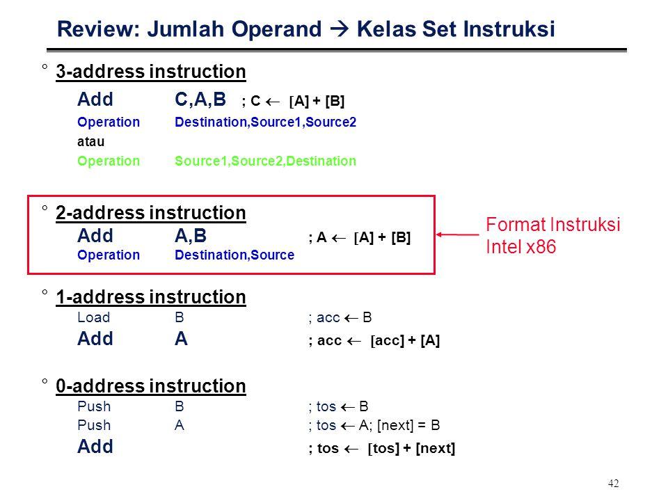 42 Review: Jumlah Operand  Kelas Set Instruksi °3-address instruction AddC,A,B ; C  A] + [B] OperationDestination,Source1,Source2 atau OperationS