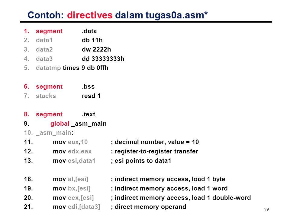 59 Contoh: directives dalam tugas0a.asm* 1.segment.data 2.data1db 11h 3.data2dw 2222h 4.data3dd 33333333h 5.datatmp times 9 db 0ffh 6.segment.bss 7.st