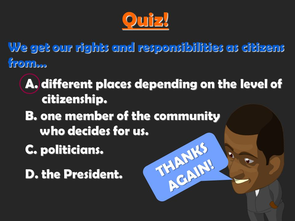 If being a citizen means having rights and responsibilities, where do rights and responsibilities come from?