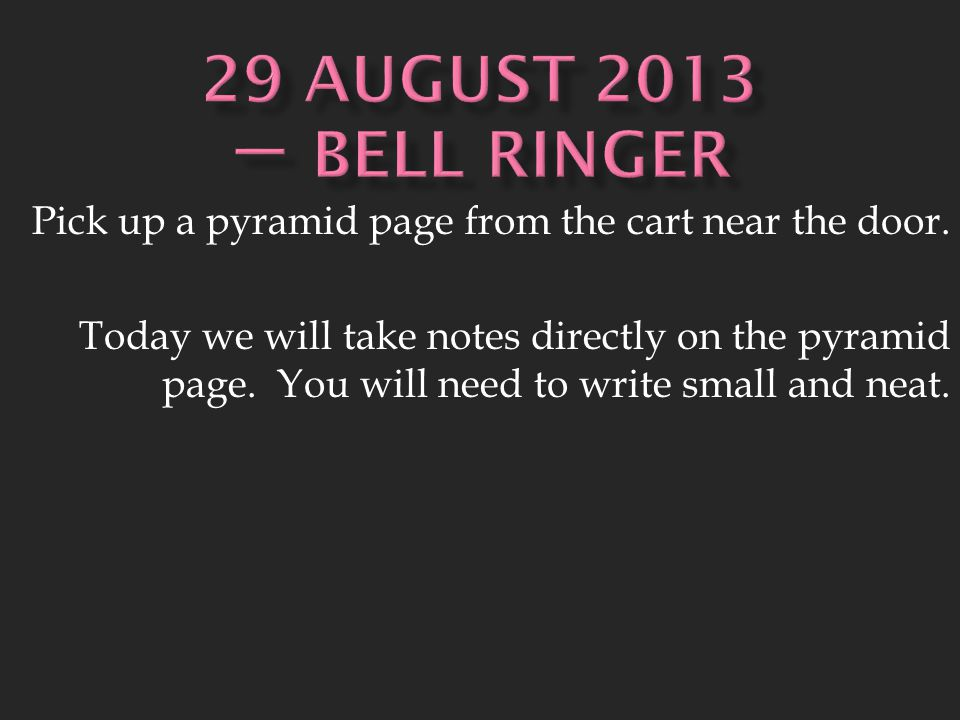 Pick up a pyramid page from the cart near the door.