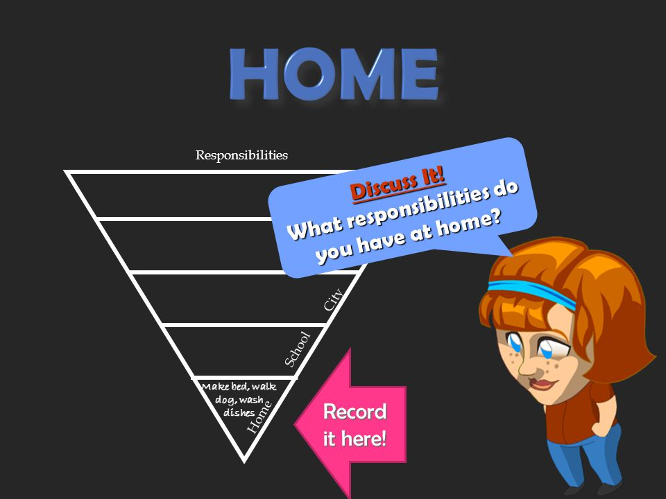 The adults in charge at home give you duties you are only responsible for at home. For example, you might have to make your bed, walk the dog, or wash