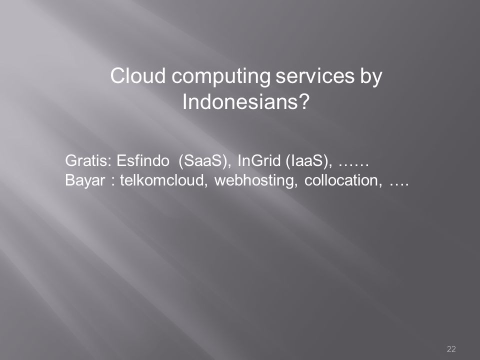 22 Cloud computing services by Indonesians.