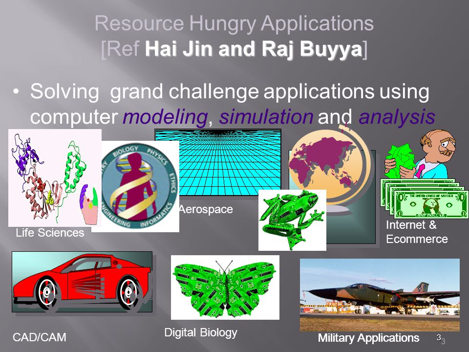 3 3 Resource Hungry Applications Hai Jin and Raj Buyya [Ref Hai Jin and Raj Buyya] Solving grand challenge applications using computer modeling, simulation and analysis Life Sciences CAD/CAM Aerospace Military Applications Digital Biology Military Applications Internet & Ecommerce