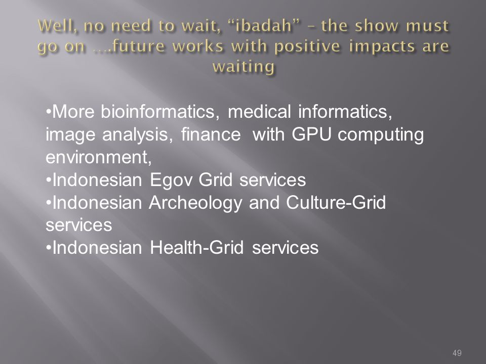 49 More bioinformatics, medical informatics, image analysis, finance with GPU computing environment, Indonesian Egov Grid services Indonesian Archeology and Culture-Grid services Indonesian Health-Grid services