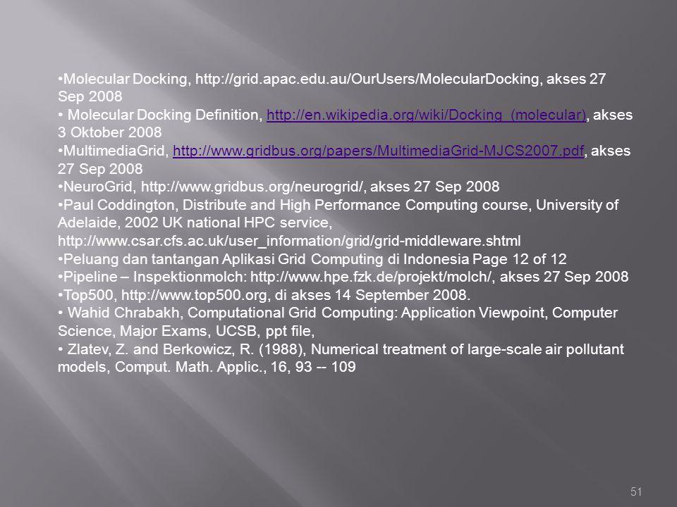 51 Molecular Docking, http://grid.apac.edu.au/OurUsers/MolecularDocking, akses 27 Sep 2008 Molecular Docking Definition, http://en.wikipedia.org/wiki/