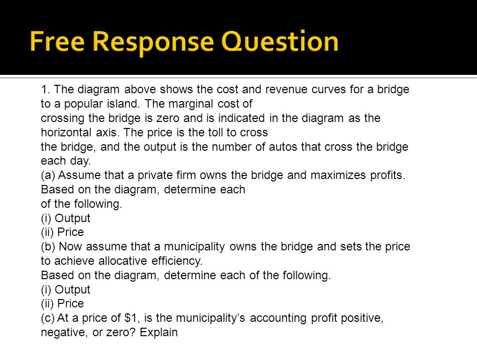 1. The diagram above shows the cost and revenue curves for a bridge to a popular island.