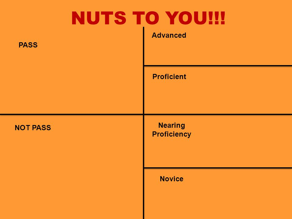 NUTS TO YOU!!! PASS NOT PASS Nearing Proficiency Novice Proficient Advanced