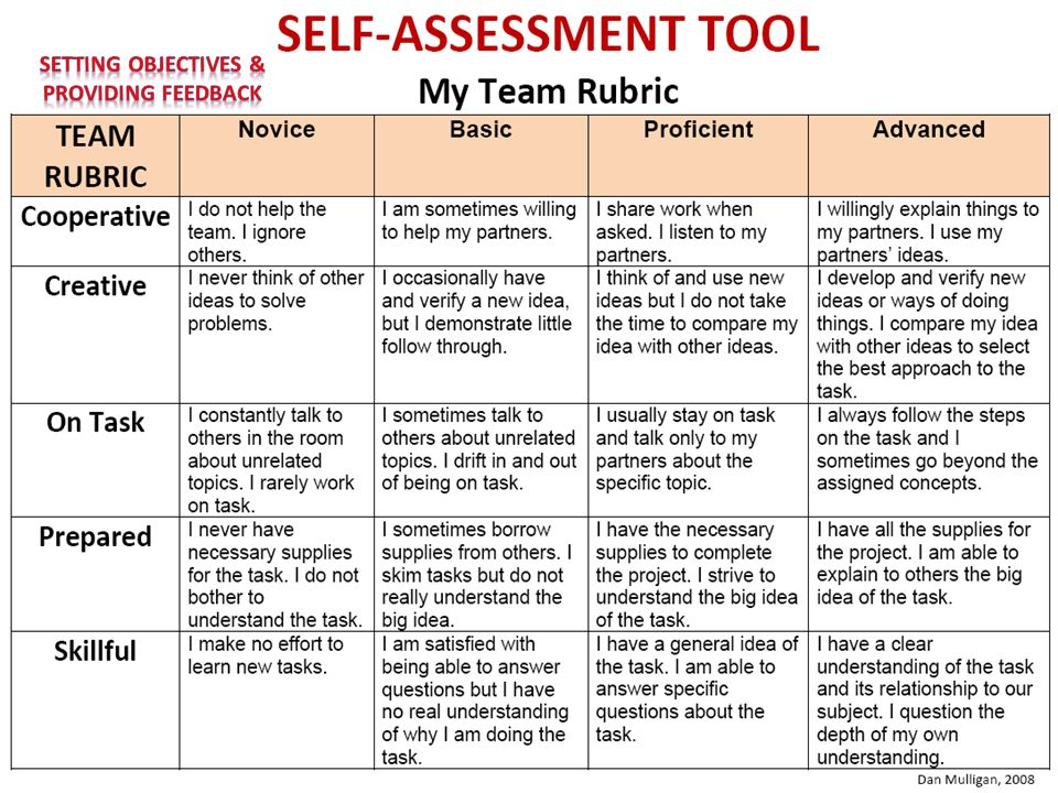 Self-Assessment Tool