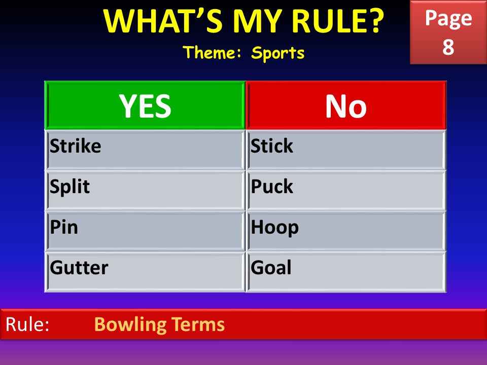 WHAT'S MY RULE? Theme: Sports YESNo StrikeStick SplitPuck PinHoop GutterGoal Rule: Bowling Terms Page 8 Page 8