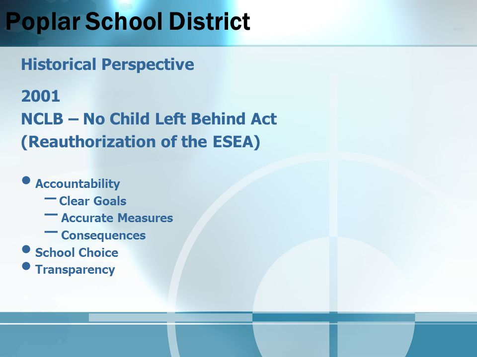 Poplar School District Historical Perspective 2001 NCLB – No Child Left Behind Act (Reauthorization of the ESEA) Accountability – Clear Goals – Accurate Measures – Consequences School Choice Transparency