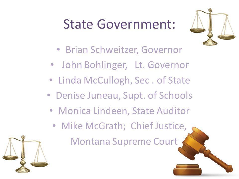 State Government: Brian Schweitzer, Governor John Bohlinger, Lt.