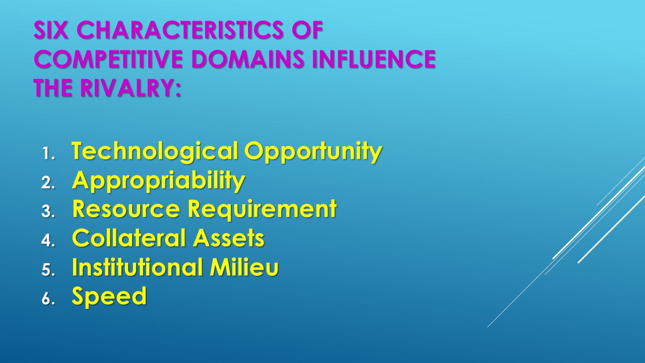 SIX CHARACTERISTICS OF COMPETITIVE DOMAINS INFLUENCE THE RIVALRY: 1. Technological Opportunity 2. Appropriability 3. Resource Requirement 4. Collatera
