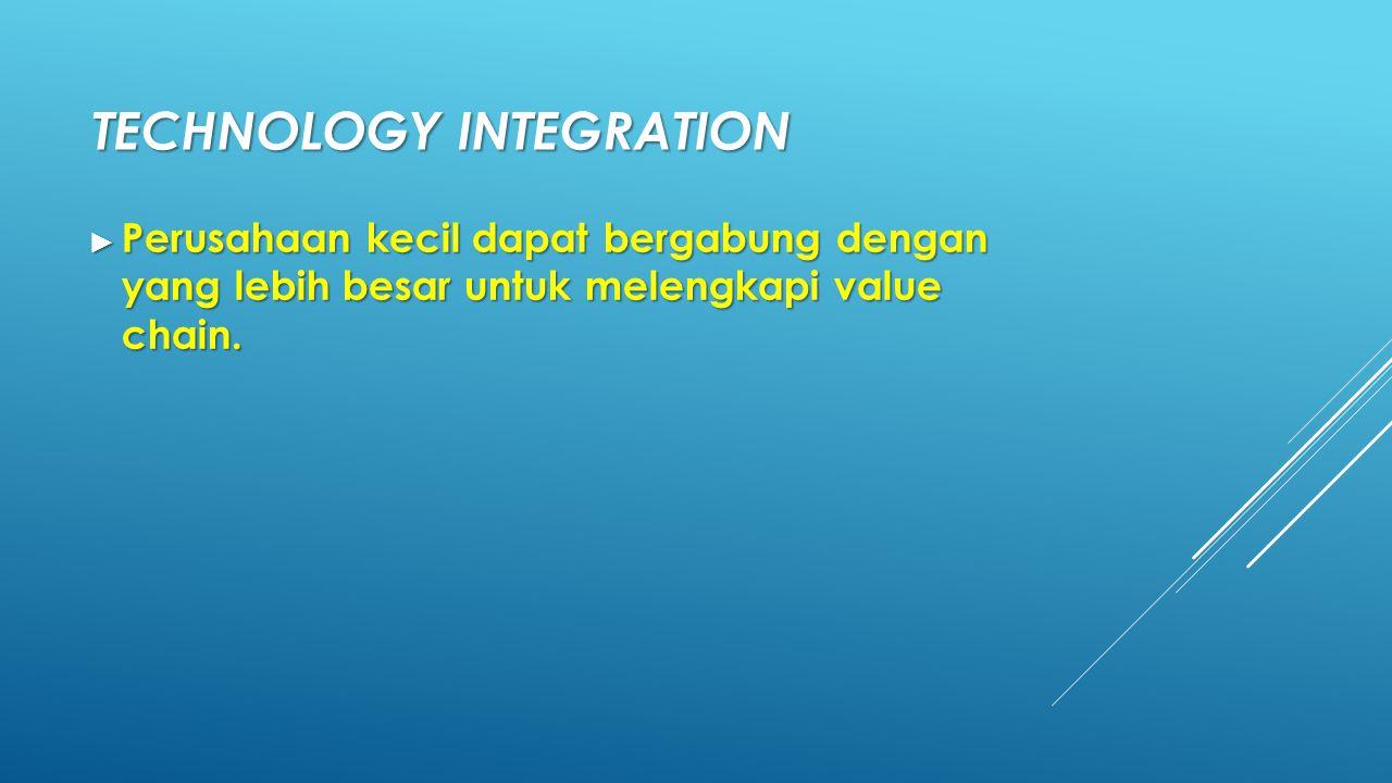 TECHNOLOGY INTEGRATION ► Perusahaan kecil dapat bergabung dengan yang lebih besar untuk melengkapi value chain.