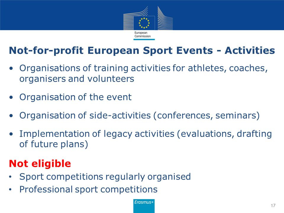 Not-for-profit European Sport Events - Activities Organisations of training activities for athletes, coaches, organisers and volunteers Organisation o