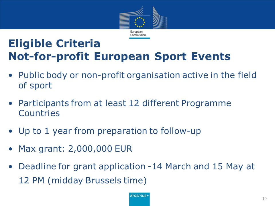 Eligible Criteria Not-for-profit European Sport Events Public body or non-profit organisation active in the field of sport Participants from at least