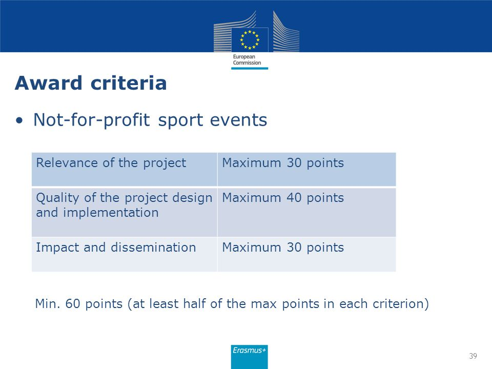 Award criteria Not-for-profit sport events 39 Relevance of the projectMaximum 30 points Quality of the project design and implementation Maximum 40 po