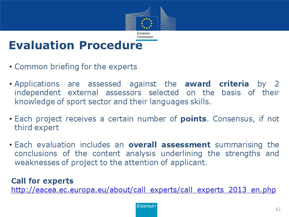 Evaluation Procedure Common briefing for the experts Applications are assessed against the award criteria by 2 independent external assessors selected
