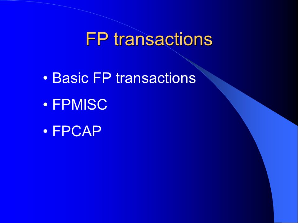 FP transactions FP10 FP11 FP12