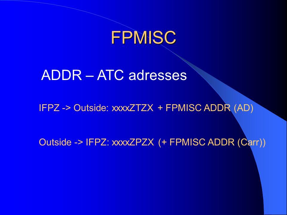 FPMISC ADDR – ATC adresses IFPZ -> Outside: xxxxZTZX + FPMISC ADDR (AD) Outside -> IFPZ: xxxxZPZX (+ FPMISC ADDR (Carr))