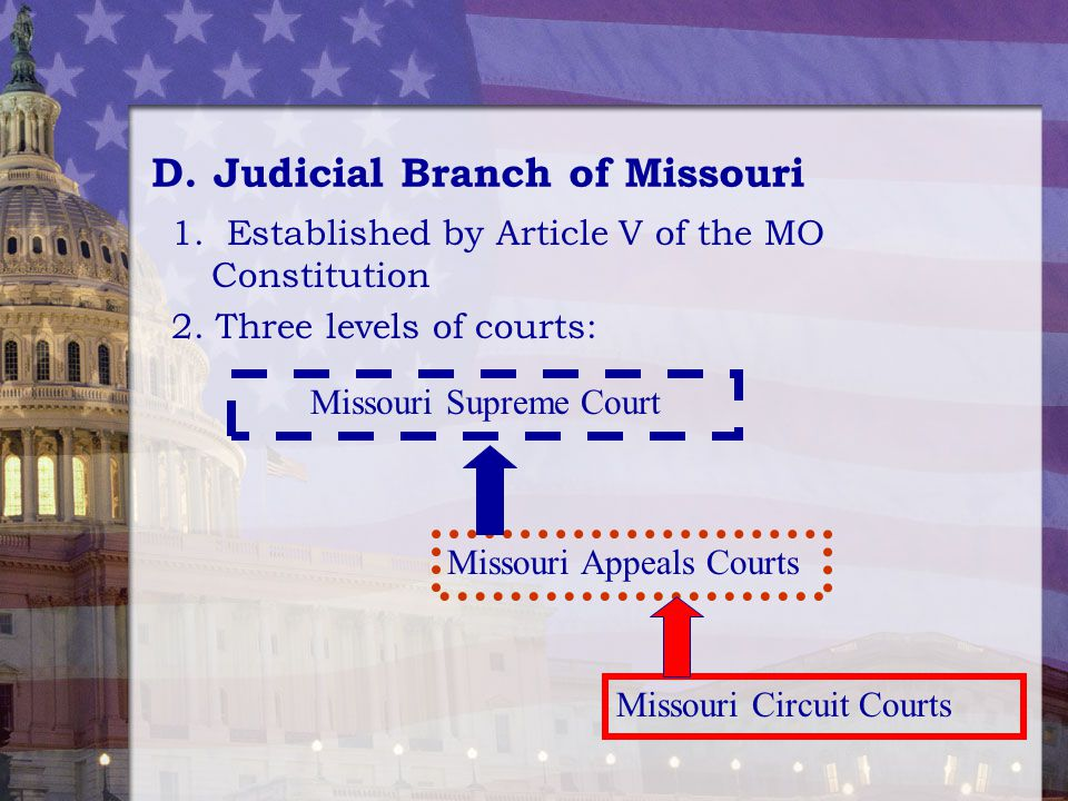 D.Judicial Branch of Missouri 1. Established by Article V of the MO Constitution 2. Three levels of courts: Missouri Supreme Court Missouri Appeals Co