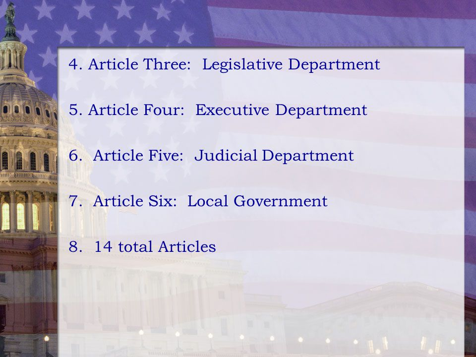 4. Article Three: Legislative Department 5. Article Four: Executive Department 6. Article Five: Judicial Department 7. Article Six: Local Government 8