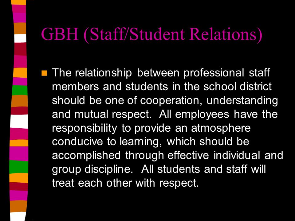 GBH (Staff/Student Relations) The relationship between professional staff members and students in the school district should be one of cooperation, un