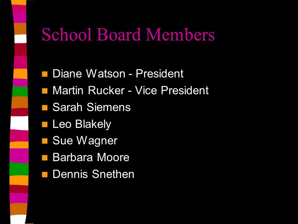 School Board Members Diane Watson - President Martin Rucker - Vice President Sarah Siemens Leo Blakely Sue Wagner Barbara Moore Dennis Snethen