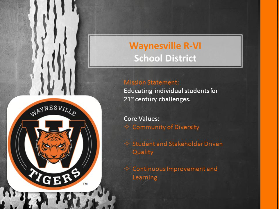 Waynesville R-VI School District Mission Statement: Educating individual students for 21 st century challenges. Core Values:  Community of Diversity