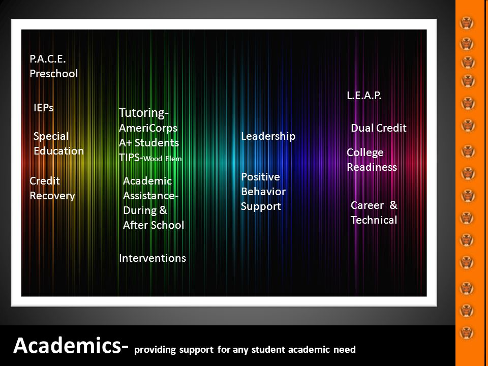 Academics- providing support for any student academic need P.A.C.E.