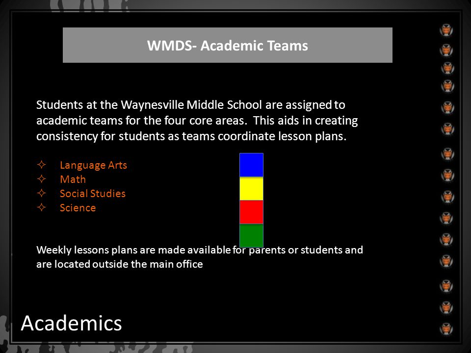 WMDS- Academic Teams Academics Students at the Waynesville Middle School are assigned to academic teams for the four core areas. This aids in creating