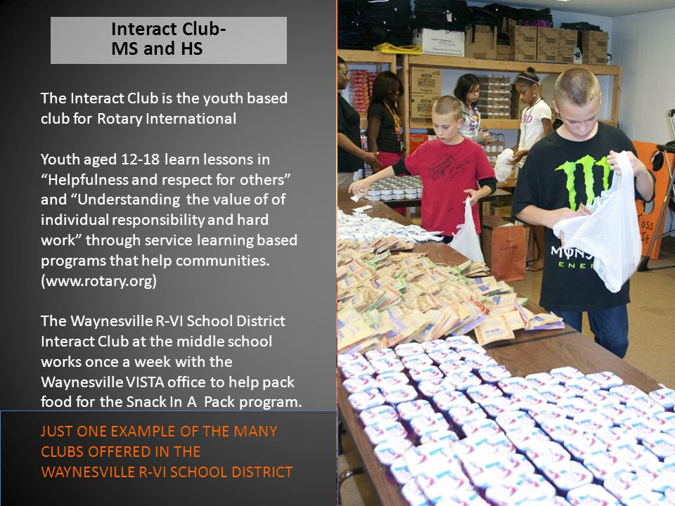 """Interact Club- MS and HS The Interact Club is the youth based club for Rotary International Youth aged 12-18 learn lessons in """"Helpfulness and respect"""