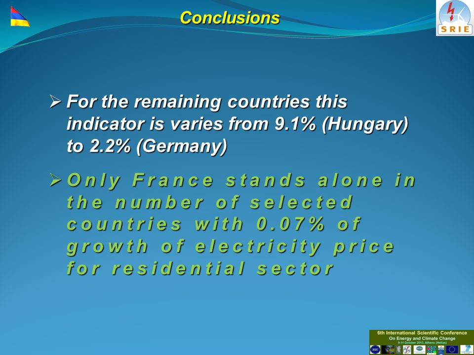 Conclusions  For the remaining countries this indicator is varies from 9.1% (Hungary) to 2.2% (Germany)  Only France stands alone in the number of selected countries with 0.07% of growth of electricity price for residential sector