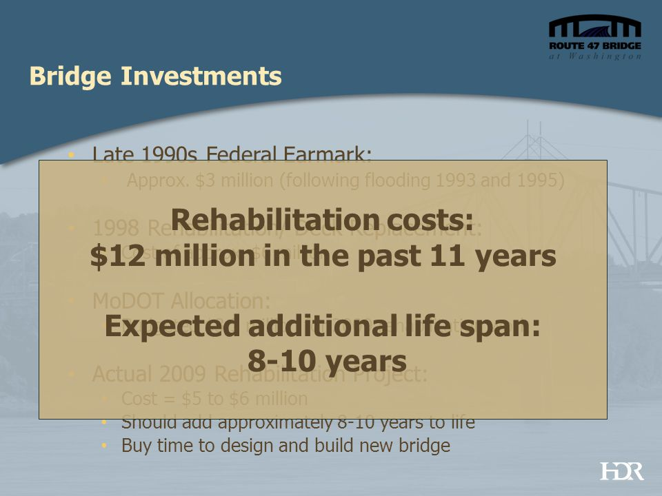 Bridge Investments Late 1990s Federal Earmark: Approx. $3 million (following flooding 1993 and 1995) 1998 Rehabilitation/ Deck Replacement: Cost of ap
